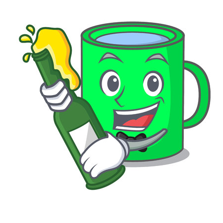 With beer mug mascot cartoon style vector illustration