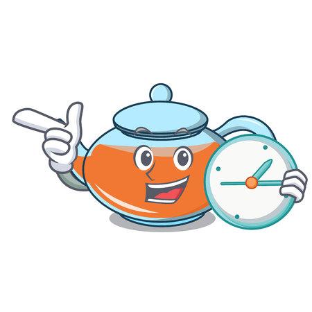 With clock transparent teapot character cartoon vector illustration