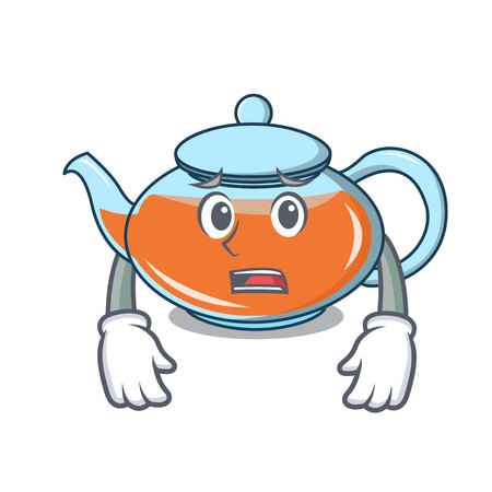 Afraid transparent teapot character cartoon vector illustration