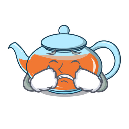 Crying transparent teapot character cartoon vector illustration 向量圖像
