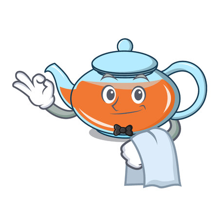 Waiter transparent teapot character cartoon vector illustration
