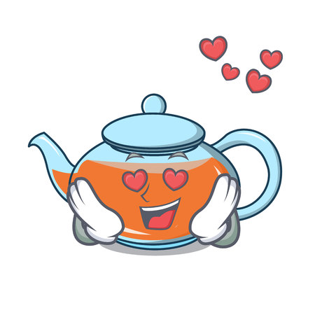 In love transparent teapot character cartoon vector illustration Illustration