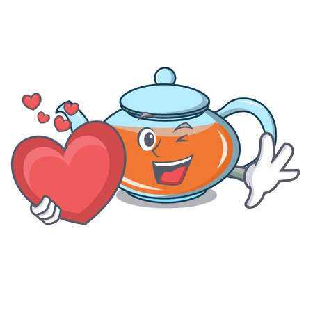 With heart transparent teapot character cartoon vector illustration
