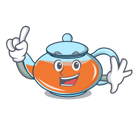 Finger transparent teapot character cartoon vector illustration