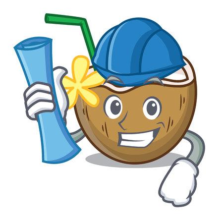 Architect cocktail coconut character cartoon vector illustration