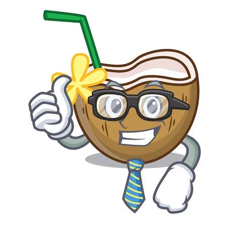Businessman cocktail coconut character cartoon vector illustration