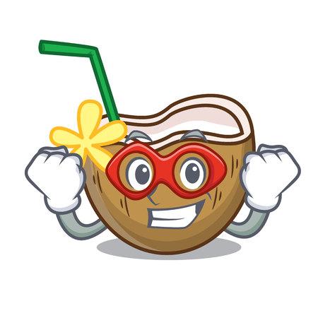 Super hero cocktail coconut character cartoon