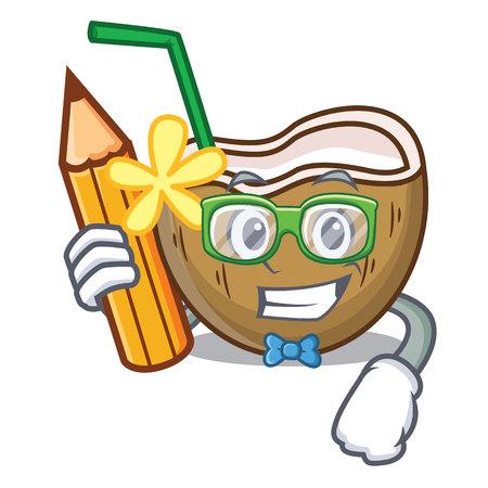 Student cocktail coconut character cartoon vector illustration Stock Illustratie