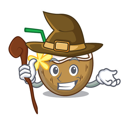 Witch cocktail coconut mascot cartoon