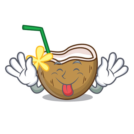 Tongue out cocktail coconut mascot cartoon vector illustration