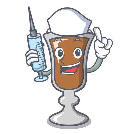 Nurse irish coffee character cartoon vector illustration Vektoros illusztráció