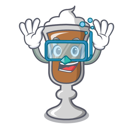 Diving irish coffee character cartoon vector illustration