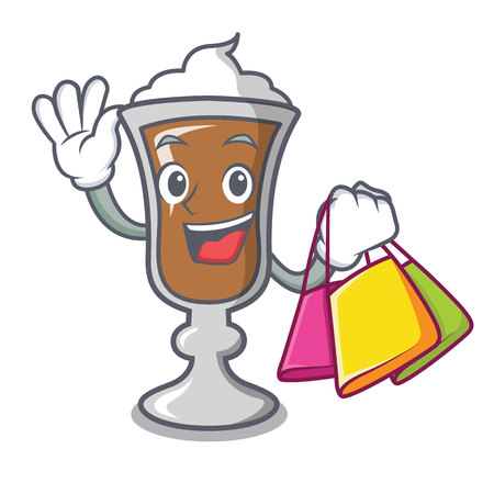 Shopping irish coffee character cartoon vector illustration Ilustração