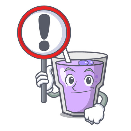 With sign berry smoothie character cartoon vector illustration Vektorové ilustrace