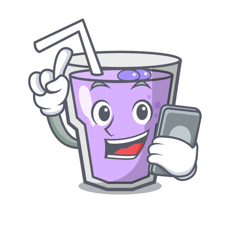 With phone berry smoothie character cartoon vector illustration