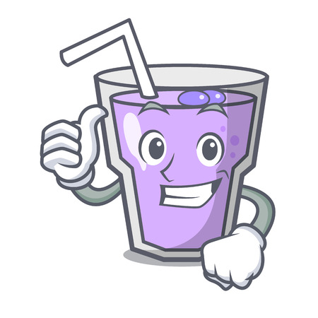 Thumbs up berry smoothie character cartoon vector illustration Illustration