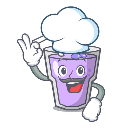 Chef berry smoothie character cartoon vector illustration