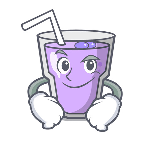 Smirking berry smoothie character cartoon vector illustration Иллюстрация