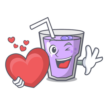 With heart berry smoothie mascot cartoon vector illustration
