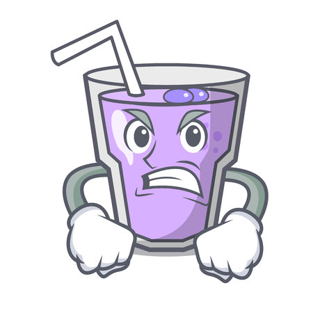 Angry berry smoothie mascot cartoon vector illustration