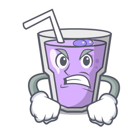 Wütende Beeren-Smoothie-Maskottchen-Cartoon-Vektor-Illustration