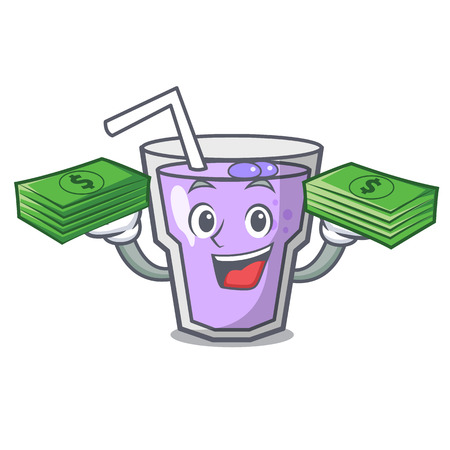 With money bag berry smoothie mascot cartoon vector illustration