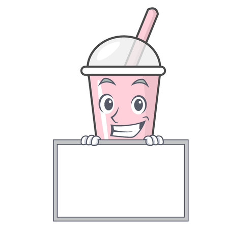 Grinning with board raspberry bubble tea character cartoon vector illustration Ilustrace