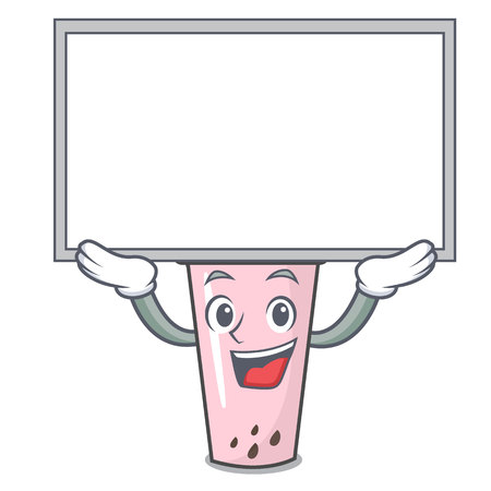 Up board raspberry bubble tea character cartoon vector illustration