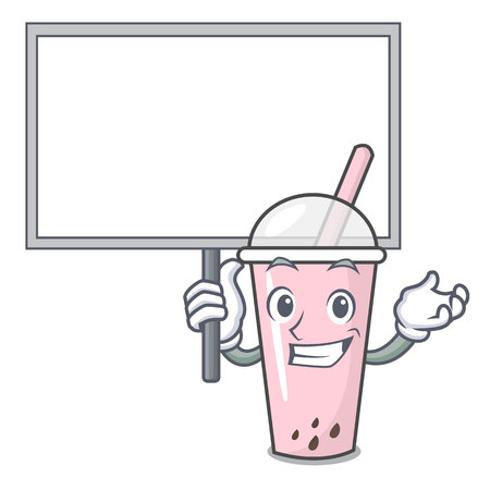 Bring board raspberry bubble tea character cartoon vector illustration