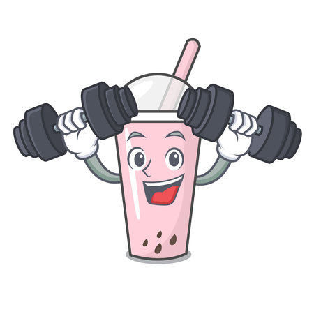 Fitness raspberry bubble tea character cartoon vector illustration Ilustrace