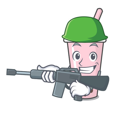 Army raspberry bubble tea character cartoon vector illustration