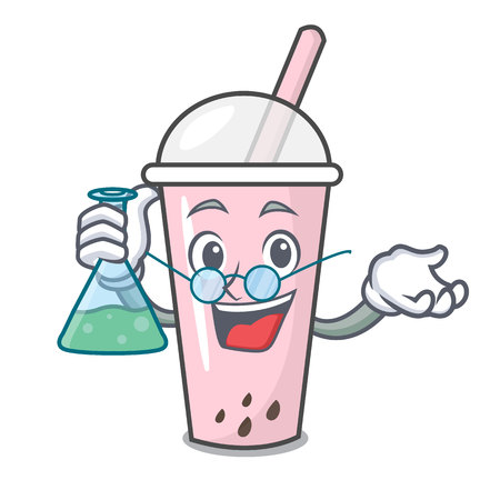 Professor raspberry bubble tea character cartoon vector illustration