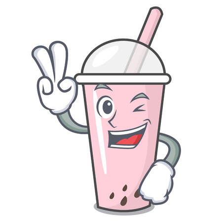 Two finger raspberry bubble tea character cartoon vector illustration