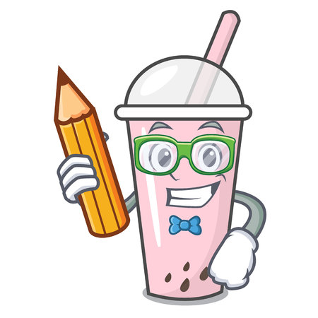 Student raspberry bubble tea character cartoon vector illustration