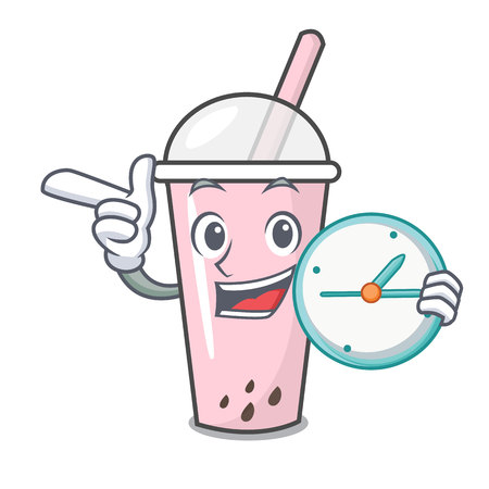 With clock raspberry bubble tea character cartoon vector illustration