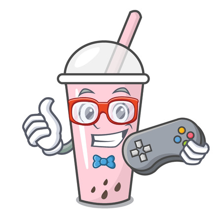Gamer raspberry bubble tea character cartoon vector illustration Ilustrace