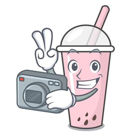 Photographer raspberry bubble tea character cartoon vector illustration