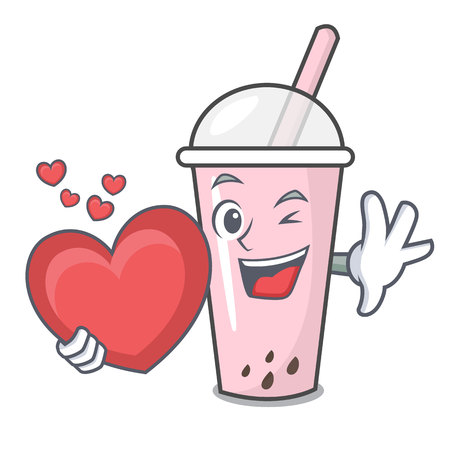 With heart raspberry bubble tea character cartoon vector illustration