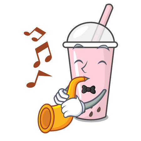 With trumpet raspberry bubble tea character cartoon vector illustration