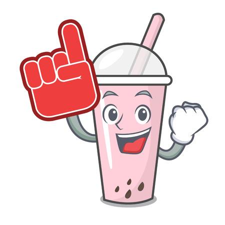 Foam finger raspberry bubble tea character cartoon vector illustration