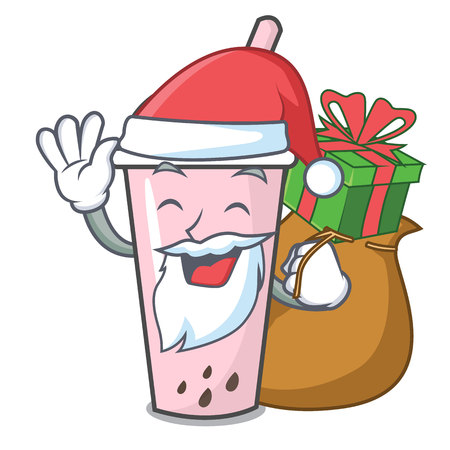 Santa with gift raspberry bubble tea character cartoon vector illustration Ilustrace