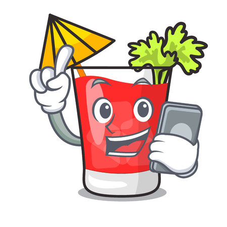 With phone bloody mary character cartoon vector illustration