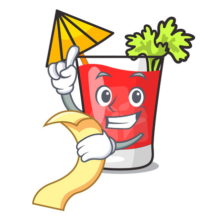With menu bloody mary mascot cartoon vector illustration
