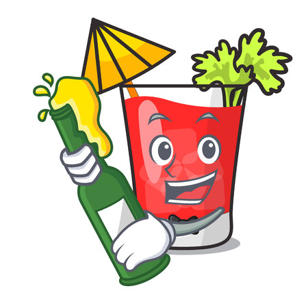 With beer bloody mary mascot cartoon vector illustration
