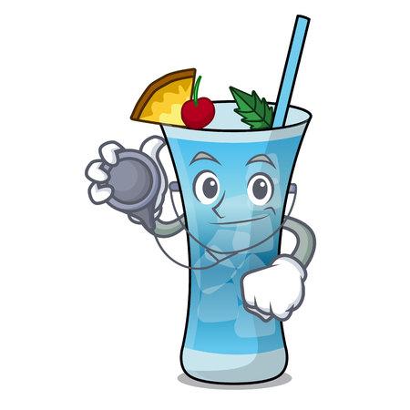 Doctor blue hawaii character cartoon vector illustration