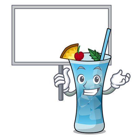 Bring board blue hawaii character cartoon vector illustration