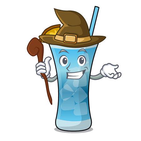 Witch blue hawaii mascot cartoon vector illustration