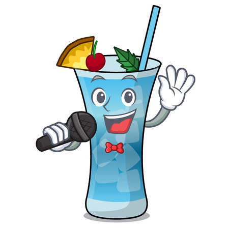Singing blue hawaii mascot cartoon vector illustration