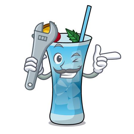 Mechanic blue hawaii mascot cartoon vector illustration