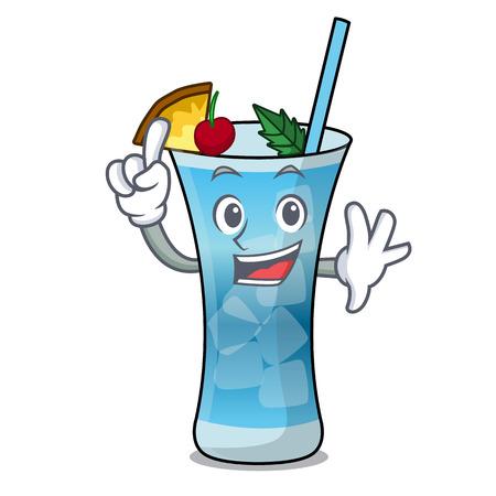 Finger blue hawaii mascot cartoon vector illustration